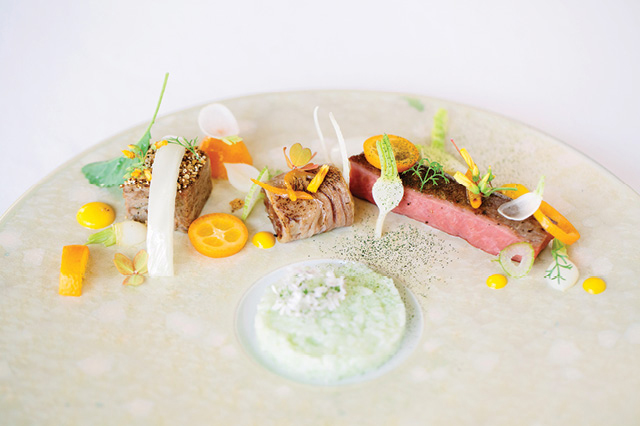 An artfully plated dish at the Umstead Hotel and Spa